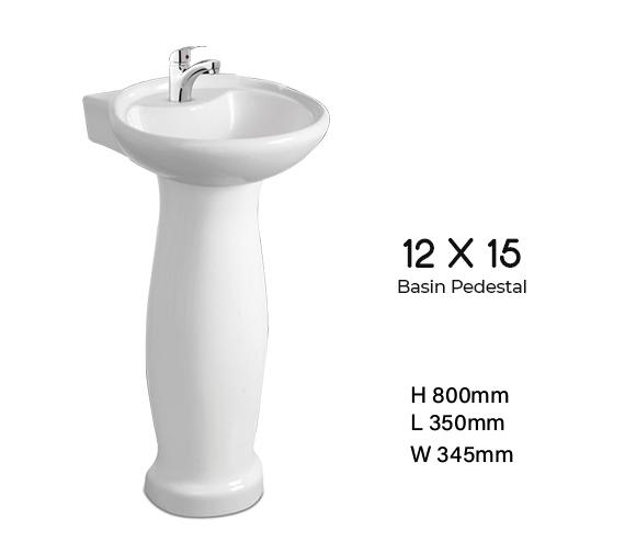 12 X 15 Basin Pedestal Dell Sanitary Ware